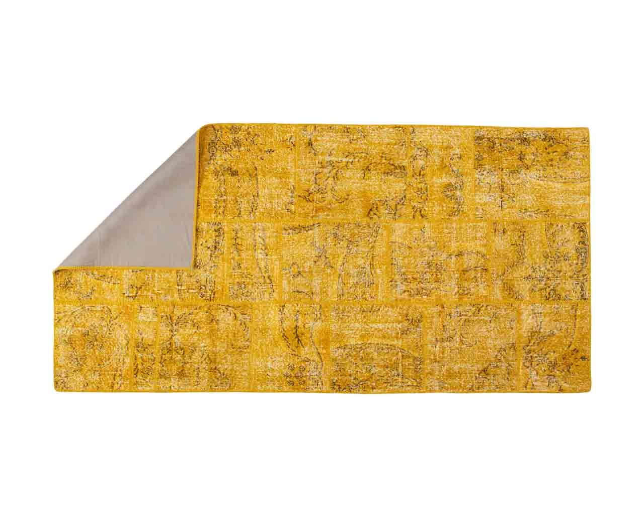 Yellow overdyed patchwork Zehra 145cm x 290cm OUTLET