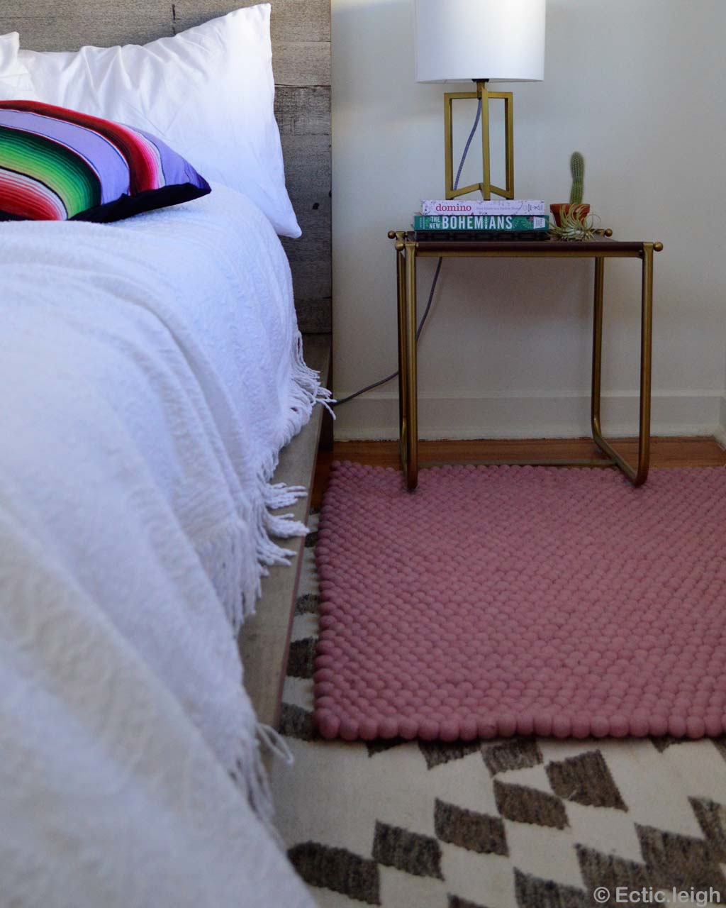 bed with pillow made in nepal modern light pink felt ball small rugs