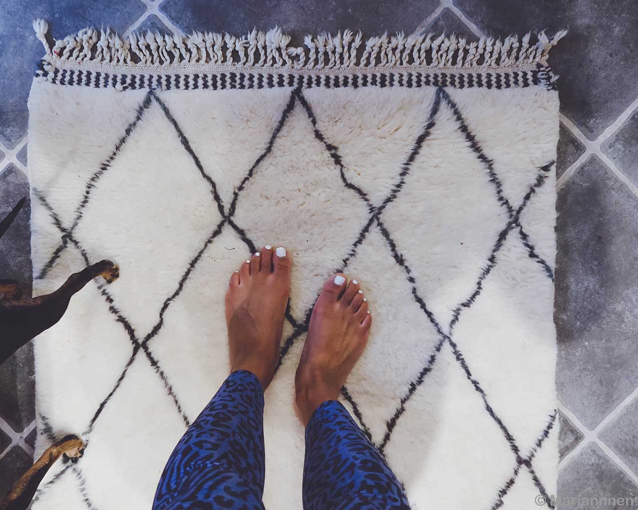 hand knotted on gray floor berber traditional white beni ourain carpet