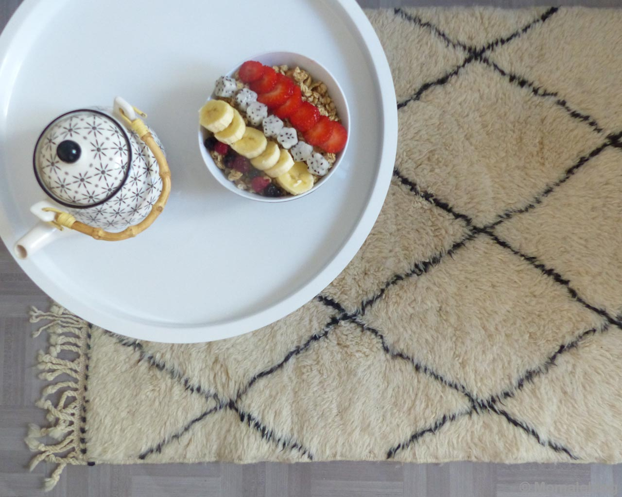 handmade tea pot and fruits in bowl traditional beni ourain rugs