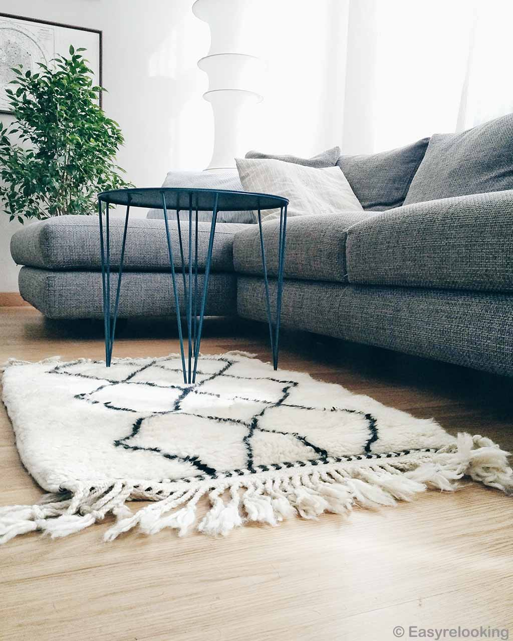 sofa with round table modern small rug
