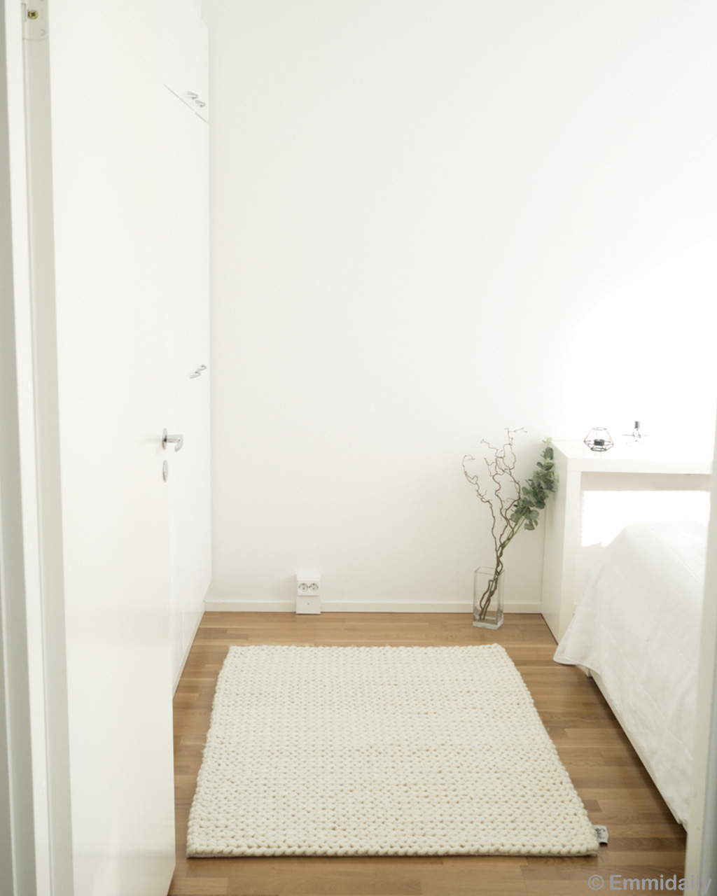 transparent vase with green plant white kids rugs