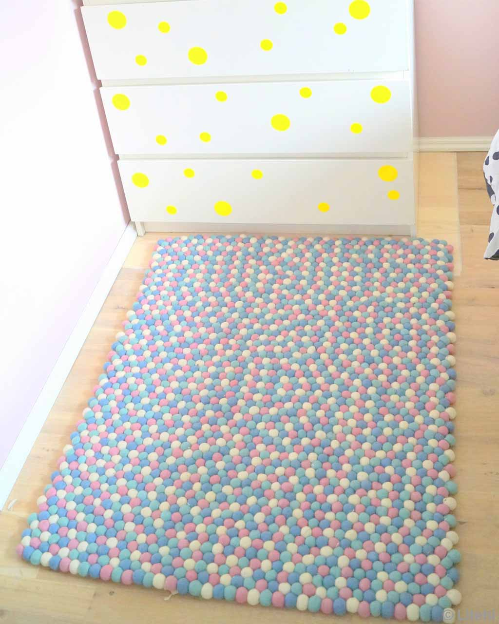 white cabinet with yellow dots modern accent rug