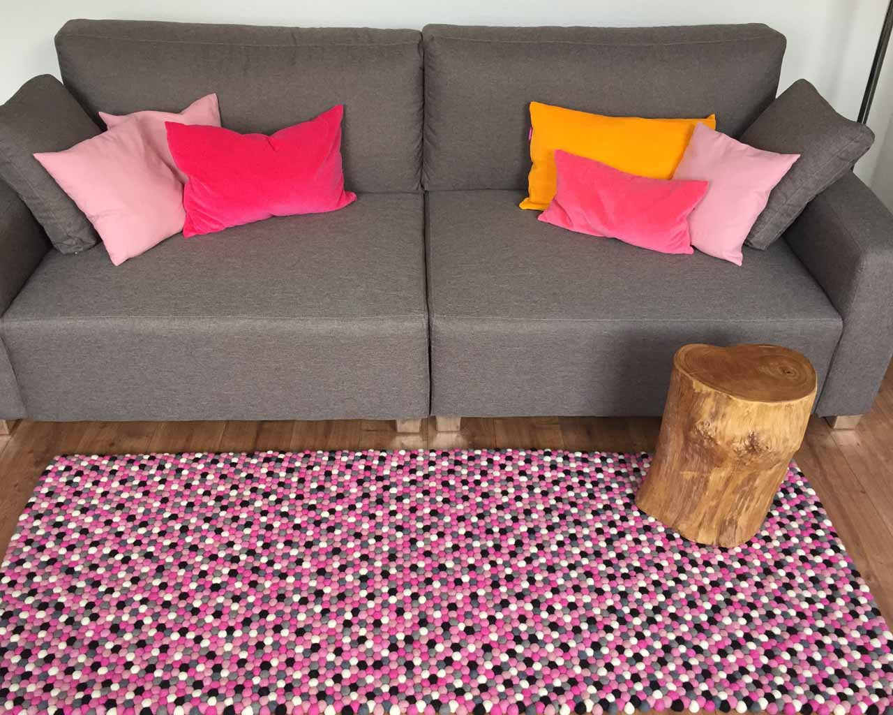 woolen gray sofa with multi color cushions nepal modern rugs