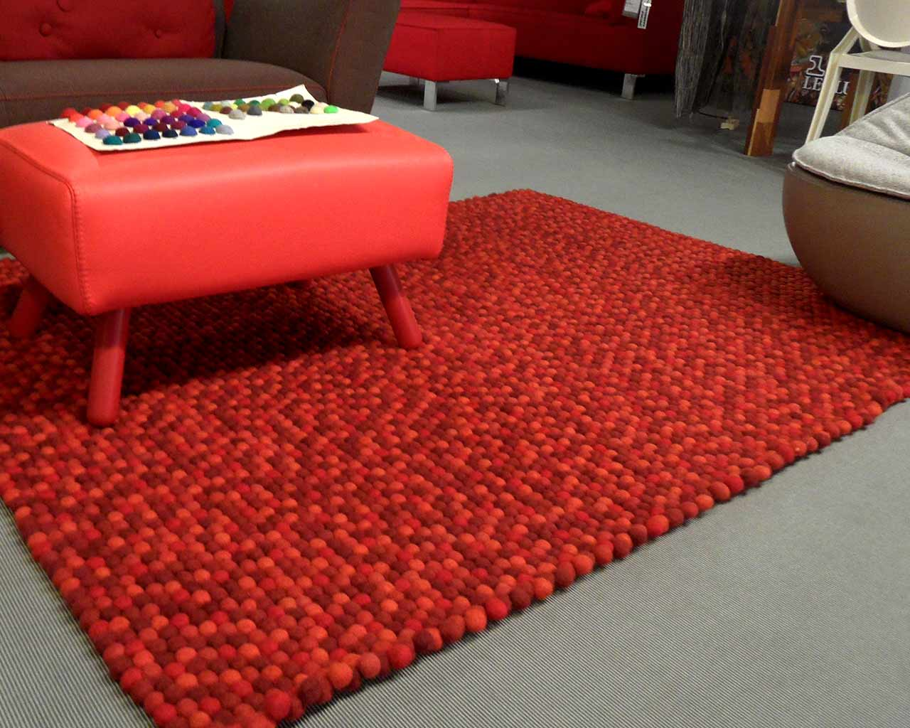 rectangular felt ball rug red nepal
